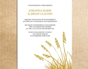 Fall Autumn Harvest Wheat Wedding Invitation - Stationery by razzledazzledesign on Etsy