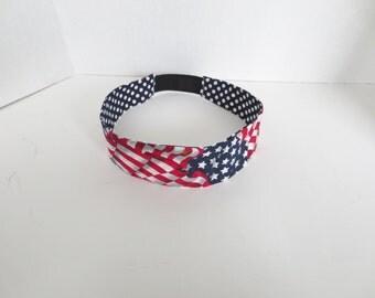 American Flag Headband - USA headband - Adult headband - Red white and blue headband - Reversible headband
