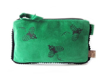 green leather pouch fly case phone screenprint wallet