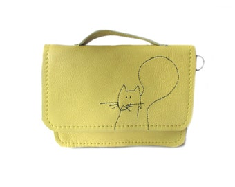 yellow leather wallet squirrel schoolbag style