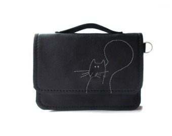 black leather wallet squirrel schoolbag style