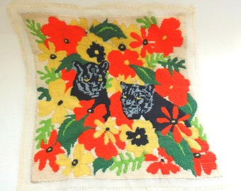 Alexandra Hill Needlepoint Panel; Jungle Floral; Panthers and Tropical Flowers; Completed Jungle Cat Needlepoint Panel