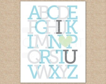 ABC I Love You, Alphabet Art, Nursery Decor, Baby Boy Nursery, Baby Shower Gift // Choose Art Print or Canvas // N-G52-1PS AA1