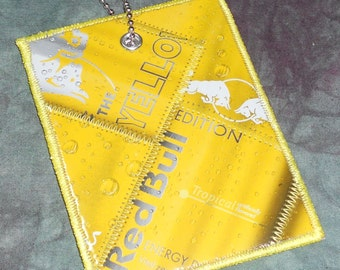 Luggage Tag from Recycled Red Bull Yellow Edition Box Packaging