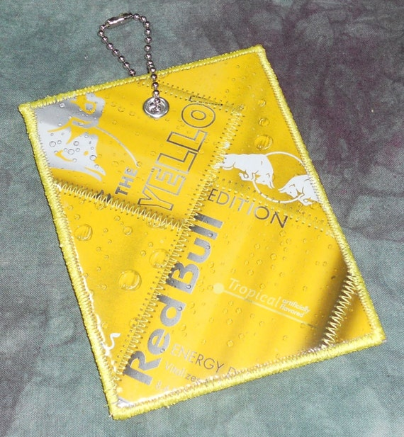 luggage tag from recycled red bull yellow edition box. Black Bedroom Furniture Sets. Home Design Ideas