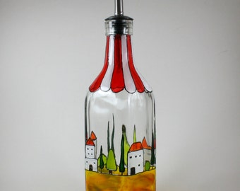 Oil Bottle Tuscany Wine Country Hand Painted Oil or Vinegar Bottle