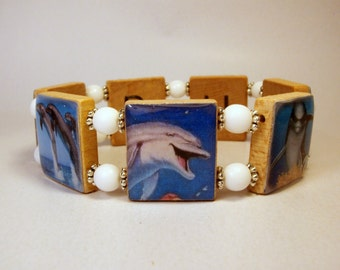DOLPHIN Jewelry / SCRABBLE Bracelet / Porpoise / Handmade Jewelry / Unusual Gifts / Marine Life / Beach