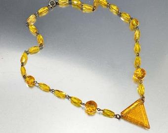 Citrine Czech Glass Art Deco Necklace, Intaglio Cameo Necklace, Czech Art Deco Necklace, Vintage 1930s Art Deco Jewelry