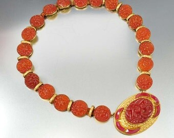 Czech Art Deco Necklace, Molded Carnelian Glass, Vintage 1920s Art Deco Jewelry, Art Deco Necklace, Antique Jewelry, Czech Glass Necklace