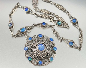 Victorian Opal Moonstone Necklace, Silver Austro Hungarian Necklace, Antique Jewelry, Victorian Necklace, Blue Moonstone Pendant Necklace