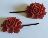 Red Rose Bobby Pin for Hair