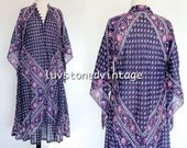 Vintage 70s Rare Kaiser Pakistan Cotton Caftan Boho Hippie India Indian Festival Gypsy Midi Maxi Dress . SML . 976.5.26.15