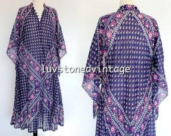 Vintage 70s Rare Kaiser Pakistan Cotton Caftan Boho Hippie India Indian Festival Gypsy Midi Maxi Dress . SML . 976.5.26.15
