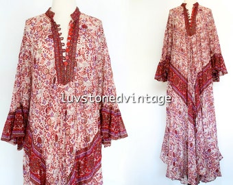 Vintage 70s Rare Oh Calcutta Cotton Gauze Caftan Hippie Kaftan India Indian Festival Gypsy Maxi Dress . SML . 978.6.3.15