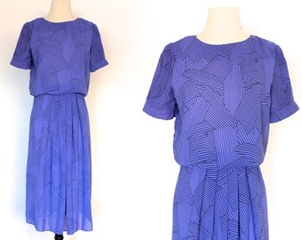 80s Pleated Puff Sleeve Secretary Dolly Abstract Pattern Dress . SM . D077 . 986.6.11.15