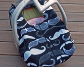 Mustache Carseat Cover in Black, Grey, White - Modern Baby Shower Gift, by Sophie Marie Designs