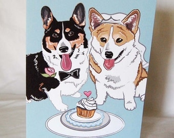Wedding Corgis - Greeting Card