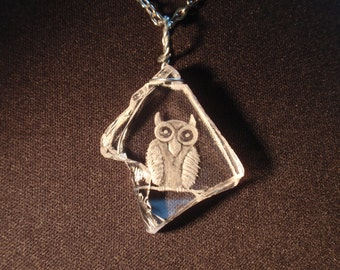 Owl Necklace, Hand Carved Glass, Etched Glass, Screech Owl, Barn Owl, Hoot