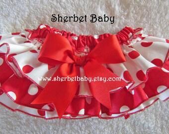 Polka Dots Sassy Pants Ruffle Diaper Cover Bloomer Red and White Polka Dots