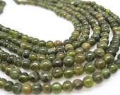 Grossular Garnet Beads, Green Garnet Beads, Smooth Round, January Birthstone, SKU 4509A