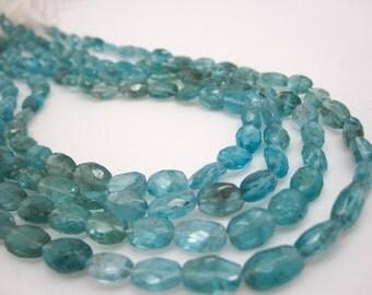 Apatite Beads, Stone, Faceted Oval, 4mm x 7mm, Aqua Gemstone, Wholesale, SKU 4703