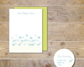 Personalized Stationery, Personalized Stationary, Stationary Set, Stationery Set, Dandelions, Daisies, Thank You Cards, Blue, Green