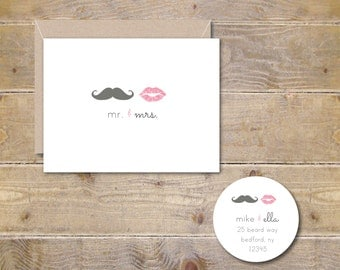 Lips and Mustache, Wedding Thank You Cards, Bridal Shower Thank You Notes, Mustache, Lips, Thank Yous, Wedding, Bridal Shower, Mr and Mrs