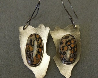 Leopard jasper and sterling earrings
