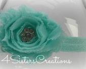 Aqua Shabby Fabric Flower with Custom Rhinestone Center with optional Interchangeable Elastic Headband you chose color