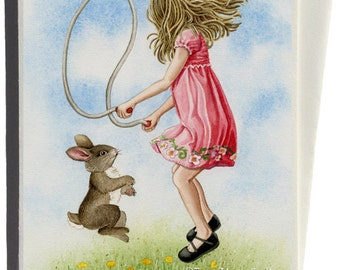 Jumping Rope Greeting Card by Tracy Lizotte