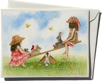 Seesaw Greeting Card by Tracy Lizotte