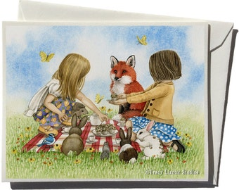 Tea Party Greeting Card by Tracy Lizotte
