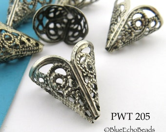 18mm Lacy Trumpet Bead Cap Filigree Bead Cap Antique Silver Pewter Bead Cap (PWT 205) 6 pcs BlueEchoBeads