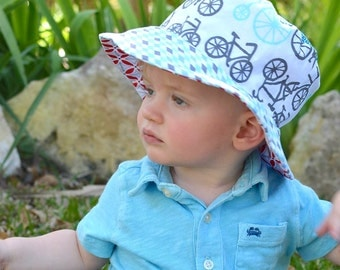 Toddler boy bucket hat, sun protection hat with brim, reversible, cute cotton prints