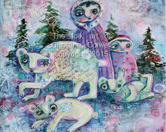 Children of the North original mixed media on canvas ,  modern contemporary, primitive raw folk art