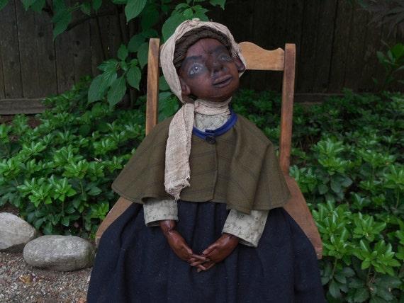 Primitive Folk-Art Vintage Looking Ooak Civil War Era Black