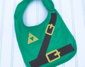 Great Halloween Costume READY TO SHIP Legend of Zelda inspired Link 100% cotton appilque bib for baby and toddlers