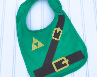 READY TO SHIP Legend of Zelda inspired Link 100% cotton applique bib for baby and toddlers