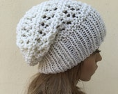 Hand knit hat - Oversized Chunky Wool Hat, slouchy hat in Cream white