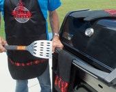 Men's BBQ  Grill Master Apron, Father's Day Gift, Men's Grilling Apron,Embroidered Men's Grill Apron