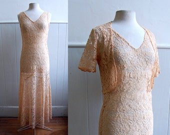 1930s Peach Lace Dress // Bolero and Silk Slip // Medium