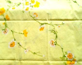 Vintage Pillowcase, Standard Size Pillowcase, Yellow Orange Flowers, Flower Pillowcase, Retro Pillowcase