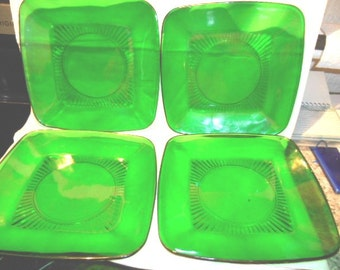 4- Vintage Anchor Hocking Forest Green Charm Square Plates