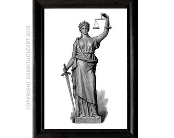 LADY JUSTICE art print Instant Printable Download Digital File law lawyer office wall decor poster vintage illustration 11x14, 8X10, 5x7,4x6