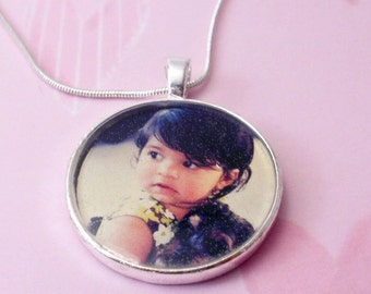 Custom Silver plated Photo Pendant