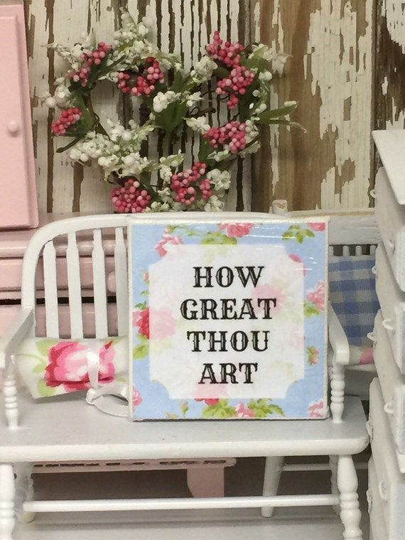 "How Great Thou Art Inspiration Sign 2""x2"" canvas"
