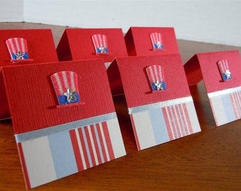 Uncle Sam Hat and Stripes Mini Cards 2x2 (6)
