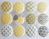 Yellow and Gray Pattern Knobs, Dots, Diamonds - 1 1/2 Inches - Made-to-Order
