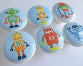 Robot Knobs, Robot Drawer Knobs, Robot Pulls, Red, Blue Green Robots with Blue Background- 1 1/2 Inches - Made-to-Order