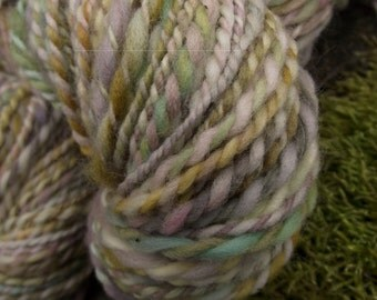 Handspun yarn, handpainted Targhee wool yarn, worsted weight thick and thin yarn-Unicorn